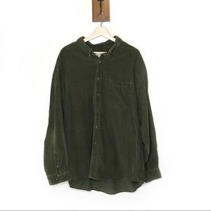 Eddie Bauer olive corduroy button down shirt